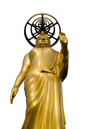 Golden Buddha Statue isolated on white background. This has clipping path.