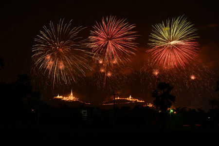 Firework over the mountain in the festival (Phra Nakhon Khiri) at Phetchaburi, Thailand. The castle on the mountain was built in the reign of King Rama IV.