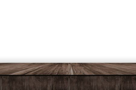 Wooden table isolated white background. Stock Photo