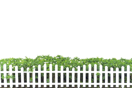 White fence decorated with green trees isolated on white background.