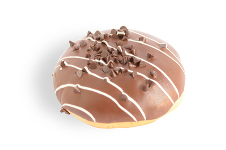 Sweet Chocolate Bun isolated on white background. This has clipping path.