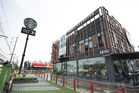 Bangkok, Thailand - February 25, 2018 : A branch of Starbucks at The Paseo park, Coffee is still popular in many country.