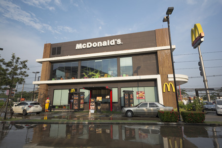 Bangkok, Thailand - February 25, 2018 : A branch of McDonalds at The Paseo park, Burger is still popular in many country.