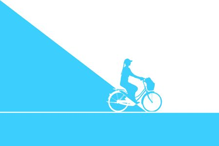 Woman riding bicycle. Blue and White art. Stock Photo