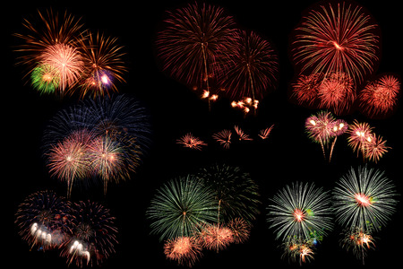 Collection of fireworks on black background. Stock Photo