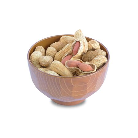 Dried Peanuts in a bowl isolated on white background. This has clipping path.