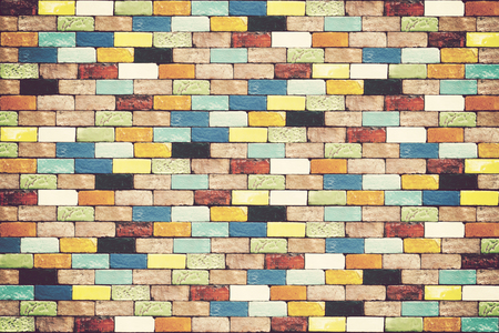 Colorful Brick wall for background. Vintage color.
