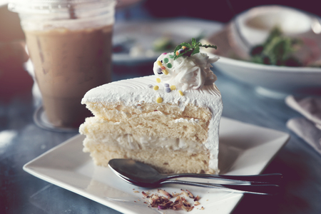 A slice of the coconut cake in the restaurant.