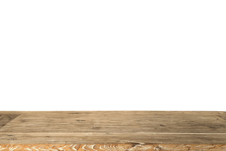 Empty wooden table for display product isolated on white background.