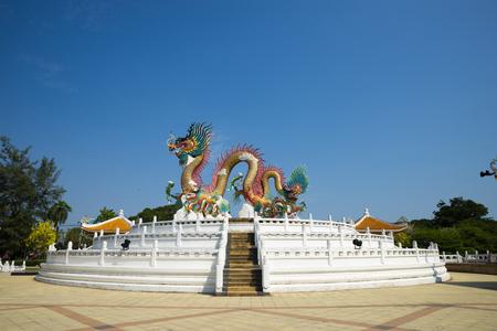 Dragon sculpture in Public park at Nakhonsawan, Thailand. (Utayan Sawan) Stock Photo