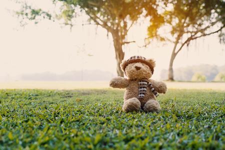 A bear doll on green grass in the park.
