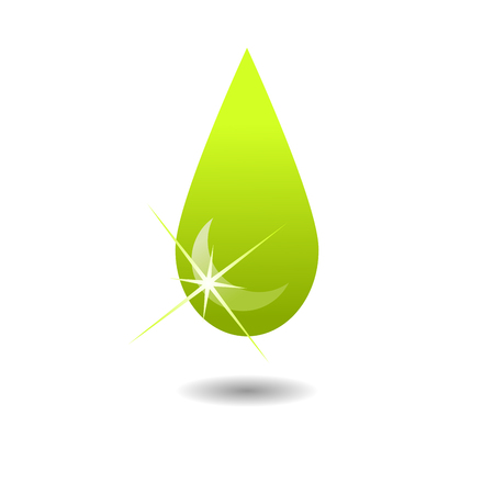 Green Droplet Logo for nature and organic concept.