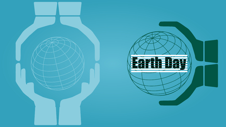 Hands holding the world. Earth day concept. Illustration