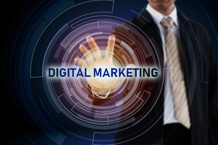 Digital and Technology concept and Businessman hand in background. Stock Photo