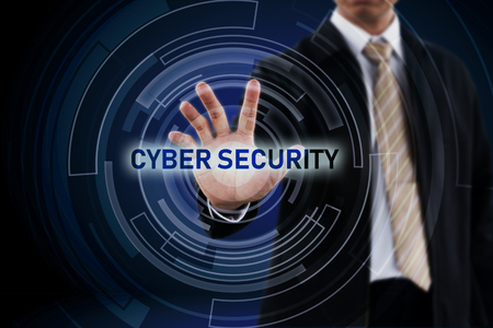 Cyber Security concept and Businessman hand in background. Stock Photo