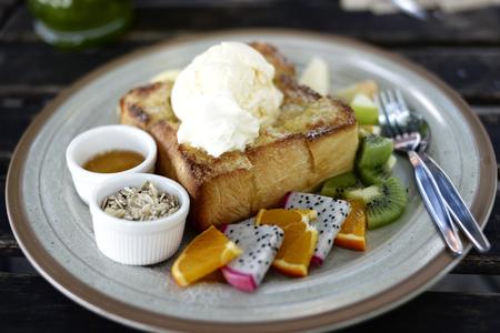Soft focus on Honey toast (Popular food) on table Stock Photo