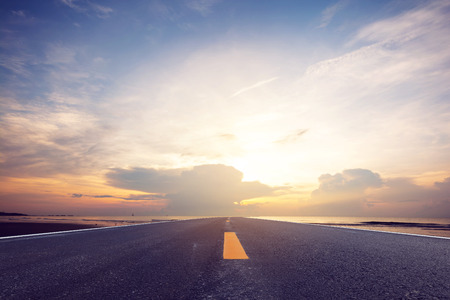 The road and beautiful sky background.  Travel and Transportation concept. Stock Photo