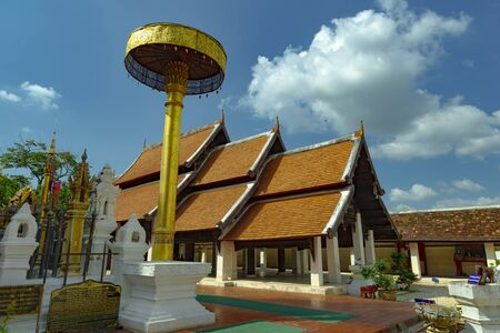 Beutiful temple for worship at Wat Phra That Lampang Luang, Lampang Province, Thailand.