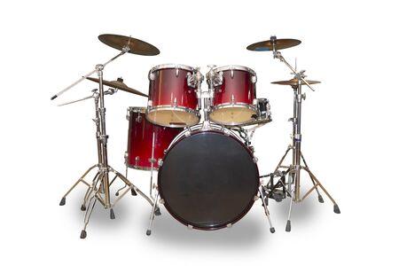 Schlagzeug-Set isoliert auf weißem Hintergrund. Dieses hat Beschneidungspfad.