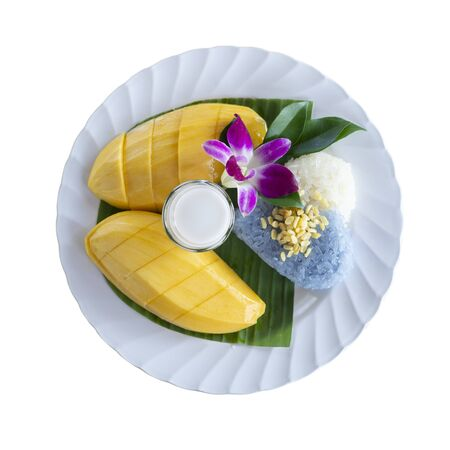 Mango and Sticky Rice isolated on white background. Thai style dessert. This has clipping path.