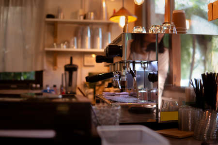 Soft focus  on Coffee Machine in the Kitchen.