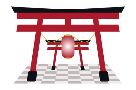 Chinese Gate and Red Lantern on the floor. This object isolated on white background.
