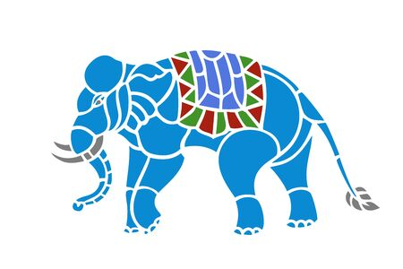 Abstract shape of Elephant isolated. There is a cloth on the back of the elephant.