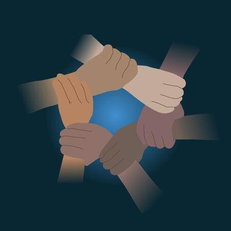 Shaking hands for Teamwork. Cooperation of all nations concept. Vektorgrafik