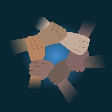 Shaking hands for Teamwork. Cooperation of all nations concept.