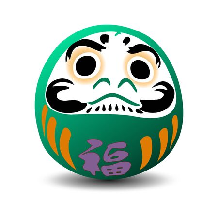 Green Daruma doll isolated. Japan culture style.