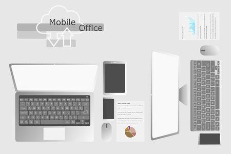 Arrangement of Digital Equipment on Table.  Mobile Office Concept.
