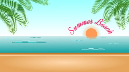 Summer Beach Background with Sunset and Blue Sky. Иллюстрация