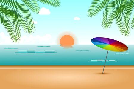 Summer Beach with Rainbow Umbrella and Blue Sky Background.
