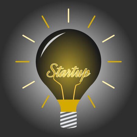 Lighting Bulb in the dark room with Startup Concept. Иллюстрация