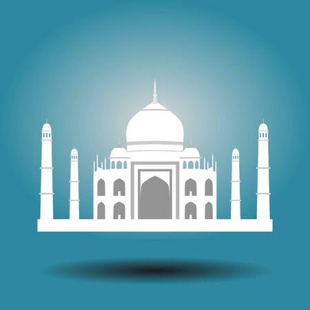 Symbol of the Taj Mahal, India. isolated on blue background. Иллюстрация