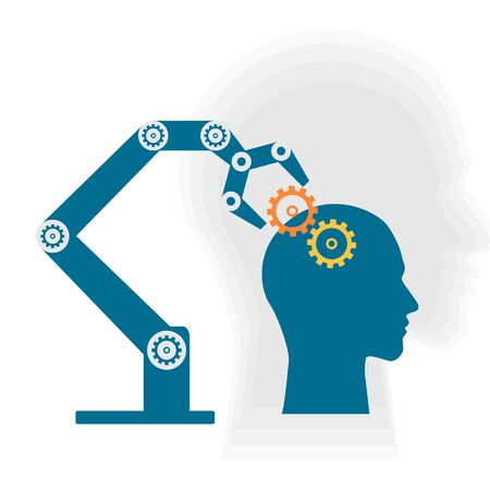 Machine arm put the knowledge to the brain of Ai.