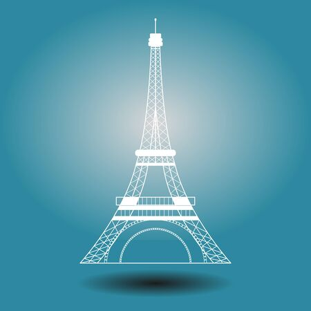 Symbol of the Eiffel Tower, French. isolated on blue background. Иллюстрация