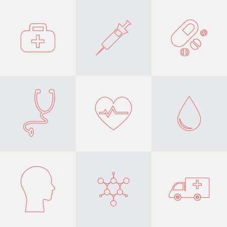 9 icons set for medical analysis. Outline style.