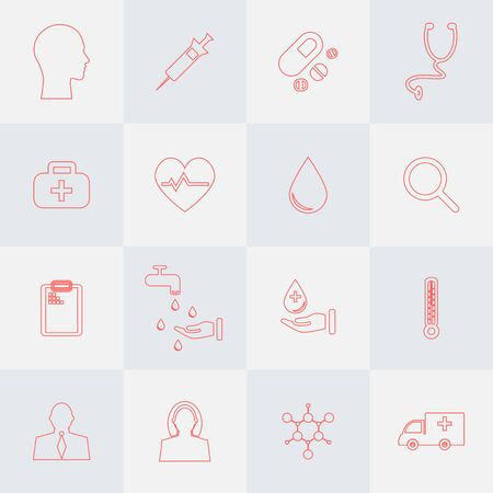 16 icons set for medical analysis. Outline style. Иллюстрация