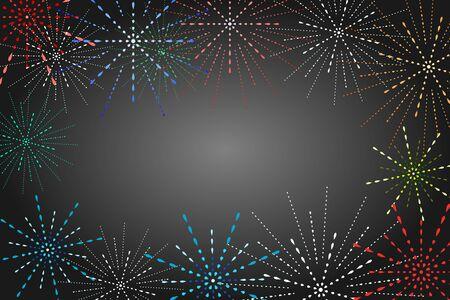 Fireworks display on Black background. Festive and Special Event Backdrop. Иллюстрация