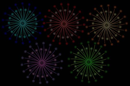 5 Colour style of Fireworks isolated on Black background. Festive and Special Event Backdrop.