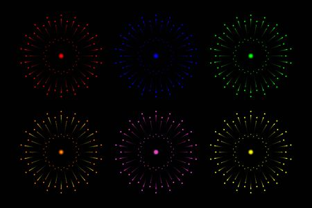 6 Colour style of Fireworks isolated on Black background. Festive and Special Event Backdrop.