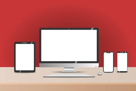 New Technology Equipments on Wooden Table and Red wall Background. White Screen for Mockup. Иллюстрация