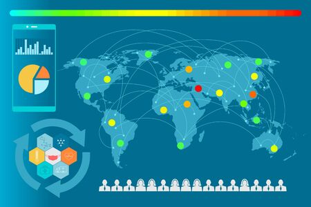 Graphic information. The World map for monitoring to show level of critical for application.