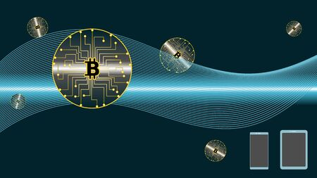 Digital Currency with symbol of BitCoin. Cryptocurrency Technology Concept.