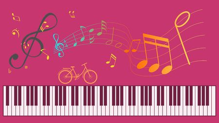 Piano keyboard and Music notes on Purple background.