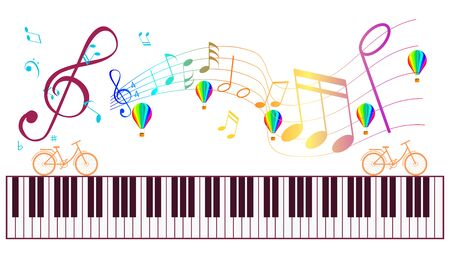 Piano keyboard and Music notes isolated. Creative activity with playing Music. Иллюстрация