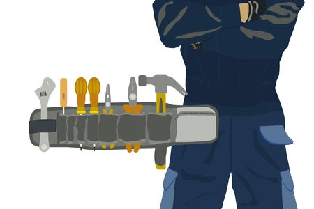 Toolbelt with Tools package and Technician in background.  DIY Concept Иллюстрация