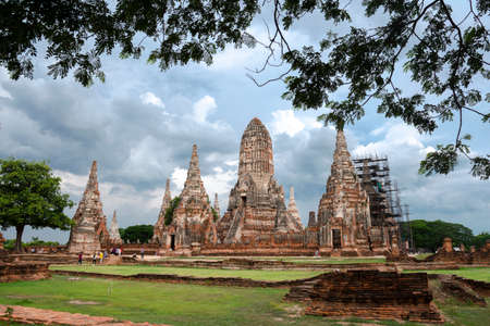 The old temple (Wat Chai Wattanaram). This place shows the old architecture in the age of Ayutthaya,Thailand.