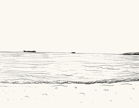 oceanside: Vector summer seascape sketch. Seaside view and beach Illustration